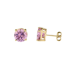 10K Yellow Gold  October Birthstone Pink Cubic Zirconia  (LCPZ) Earrings