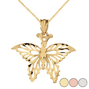 Filigree Diamond Cut Butterfly Pendant Necklace in Solid Gold (Yellow/Rose/White)