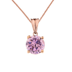 10K Rose Gold  October Birthstone Pink Cubic Zirconia  (LCPZ)  Pendant Necklace
