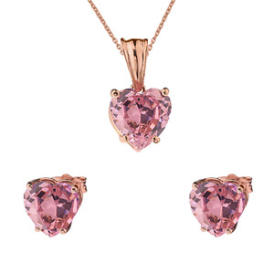 10K Rose Gold Heart October Birthstone Pink Cubic Zirconia  (LCPZ) Pendant Necklace & Earring Set
