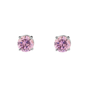 10K White Gold  October Birthstone Pink Cubic Zirconia  (LCPZ) Earrings