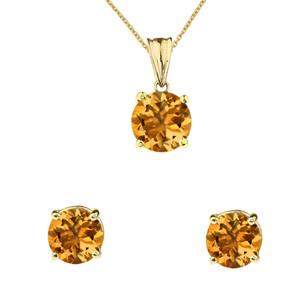 10K Yellow Gold November Birthstone Citrine (LCC) Pendant Necklace & Earring Set