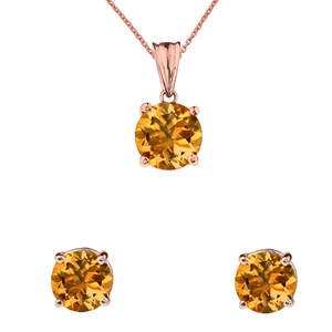 10K Rose Gold November Birthstone Citrine (LCC) Pendant Necklace & Earring Set