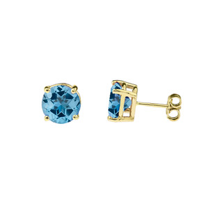 10K Yellow Gold December Birthstone Blue Topaz (LCBT) Pendant Necklace & Earring Set