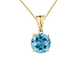 10K Yellow Gold December Birthstone Blue Topaz (LCBT) Pendant Necklace
