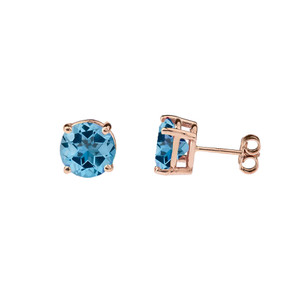 10K Rose Gold December Birthstone Blue Topaz (LCBT) Pendant Necklace & Earring Set