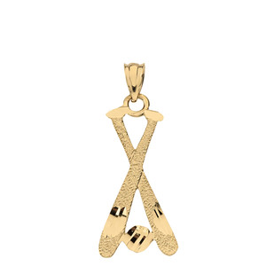 Diamond Cut Baseball Bats Pendant Necklace  in Solid Gold (Yellow/Rose/White)