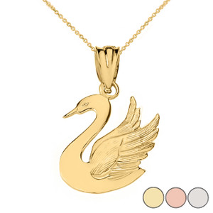 Swan Pendant Necklace in Solid Gold (Yellow/Rose/White)