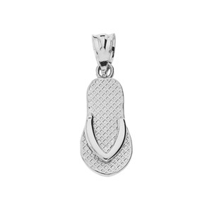 Sterling Silver Textured Flip Flop Pendant Necklace