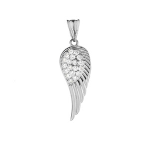 Elegant  White Gold  CZ Angel Wing  Pendant Necklace