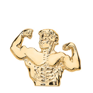 Bodybuilding Muscle Man Pendant Necklace in Solid Gold (Yellow/Rose/White)