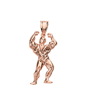 Weightlifting Fitness Sport Bodybuilder Pendant Necklace in Solid Gold (Yellow/Rose/White)