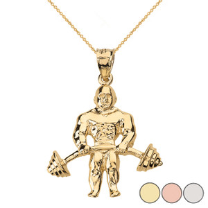 Weightlifting Fitness Sport Bodybuilder and Barbell Pendant Necklace in Solid Gold (Yellow/Rose/White)