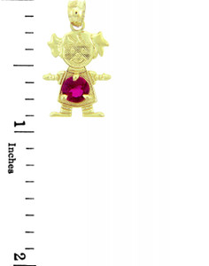 CZ Dark Pink Stone Girl Yellow Gold Birthstone Charm