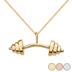 Sports Fitness Curved Barbell Pendant Necklace  in Solid Gold (Yellow/Rose/White)
