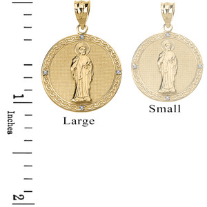 Diamond Saint Peter Engravable Circle Medallion Pendant Necklace (Large)  in Solid Gold (Yellow/Rose/White)
