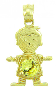 CZ Yellow Topaz Gold Birthstone Charm