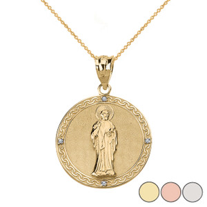 Diamond Saint Peter Engravable Circle Medallion Pendant Necklace (Small)  in Solid Gold (Yellow/Rose/White)