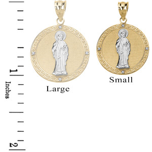 Solid Two Tone Yellow Gold Diamond Saint Peter Engravable Circle Medallion Pendant Necklace (Small)