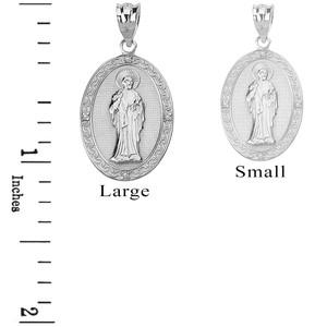 Sterling Silver CZ Saint Peter Engravable Oval Medallion Pendant Necklace (Large)