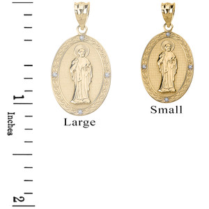Diamond Saint Peter Engravable Oval Medallion Pendant Necklace (Small) in Solid Gold (Yellow/Rose/White)