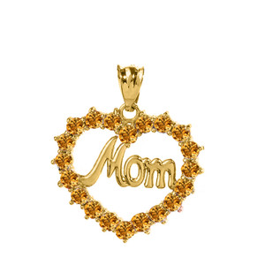 "Yellow Gold ""Mom"" Citrine (LCC) in Open Heart Pendant Necklace"