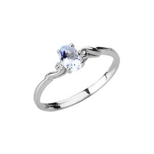 Dainty White Gold Elegant Swirled Genuine Aquamarine Solitaire Ring