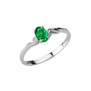 Dainty White Gold Elegant Swirled Genuine Emerald Solitaire Ring