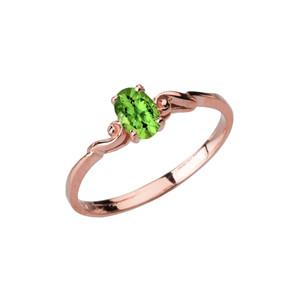 Dainty Rose Gold Elegant Swirled Genuine Peridot Solitaire Ring