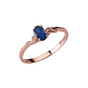 Dainty Rose Gold Elegant Swirled Genuine Sapphire Solitaire Ring