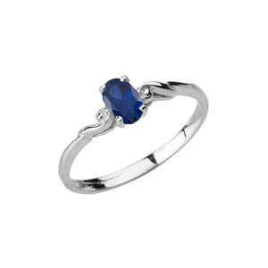 Dainty White Gold Elegant Swirled Genuine Sapphire Solitaire Ring