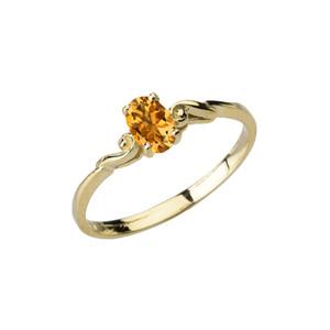 Dainty Yellow Gold Elegant Swirled Genuine Citrine Solitaire Ring