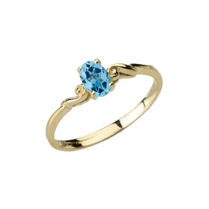 Dainty Yellow Gold Elegant Swirled Genuine Blue Topaz Solitaire Ring