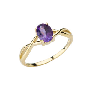 Dainty Yellow Gold Infinity Design Amethyst (LCAM) Solitaire Ring