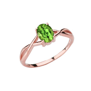 Dainty Rose Gold Infinity Design Peridot (LCP) Solitaire Ring