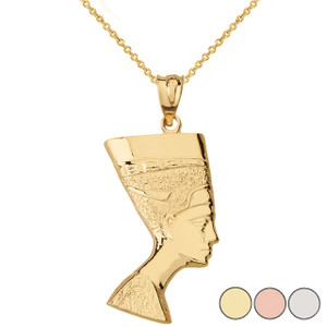 Egyptian Queen Statue Nefertiti Bust Pendant Necklace in Solid Gold (Yellow/Rose/White)