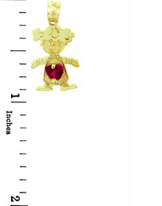CZ Ruby Garnet Little Girl Yellow Gold Birthstone Charm