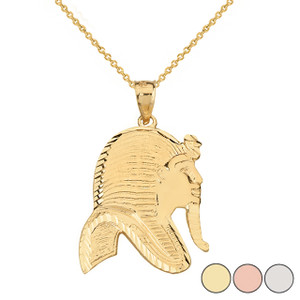 Egyptian King Tut Profile Pendant Necklace in Solid Gold (Yellow/Rose/White)