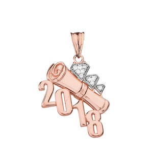 Rose Gold Diamond Two-Tone Diagonal Class of 2018 Graduation Diploma Pendant Necklace