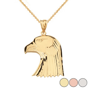 Diamond Cut Bald Eagle Head Pendant Necklace in Solid Gold (Yellow/Rose/White)