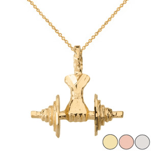 Bodybuilding Lifting  Barbell 3D Pendant Necklace in Solid Gold (Yellow/Rose/White)