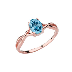 Dainty Rose Gold Infinity Design Blue Topaz (LCBT) Solitaire Ring