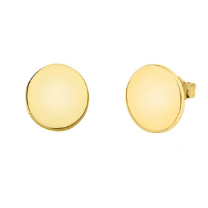Solid Yellow Gold Simple Round Earrings