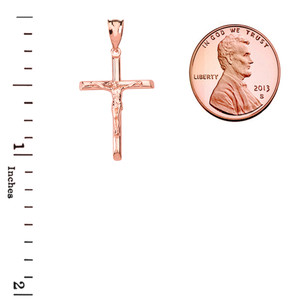 Solid Rose Gold Crucifix Cross Pendant Necklace