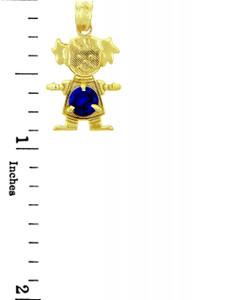 CZ Dark Blue Round Gem Girl Birthstone Charm