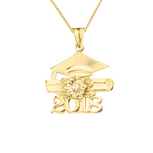 2018 Graduation Pendant Necklace with Diamond and Yellow Gold