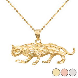 Diamond Cut Cheetah Pendant Necklace  in Solid Gold (Yellow/Rose/White)