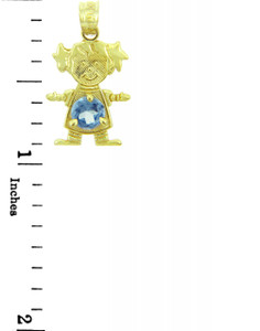 CZ Light Blue Girl Birthstone Charm