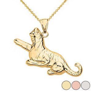 Big Cat Roaring Tiger Pendant Necklace in Solid Gold (Yellow/Rose/White)