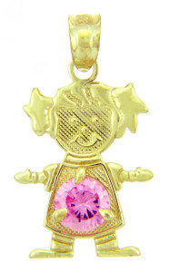 CZ Pink Gem October June Girl Birthstone Charm
